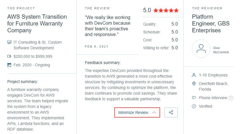 DevCom Client Reviews on Clutch.co